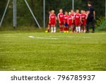 youth football team with coach... | Shutterstock . vector #796785937