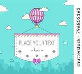 aerostat  air balloon  with... | Shutterstock .eps vector #796803163
