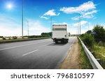white box truck on the... | Shutterstock . vector #796810597