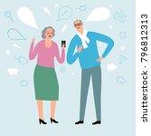 lovely cartoon grandparents... | Shutterstock .eps vector #796812313