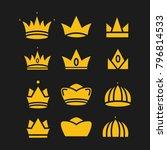 crown set royal king vector... | Shutterstock .eps vector #796814533
