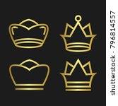 crown set royal king vector... | Shutterstock .eps vector #796814557