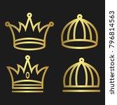 crown set royal king vector... | Shutterstock .eps vector #796814563
