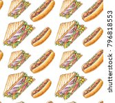 watercolor hand drawn seamless... | Shutterstock . vector #796818553