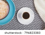 tiny white cup of black strong ...   Shutterstock . vector #796823383