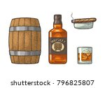 whiskey glass with ice cubes ... | Shutterstock .eps vector #796825807