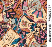 seamless mehndi vector pattern. ... | Shutterstock .eps vector #796835797