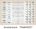 set of vintage frames with... | Shutterstock .eps vector #796840357
