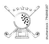 golf ball emblem elegant | Shutterstock .eps vector #796848187