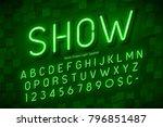 neon light 3d alphabet  extra...   Shutterstock .eps vector #796851487