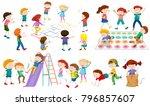 many children play different... | Shutterstock .eps vector #796857607