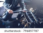 technician working on checking... | Shutterstock . vector #796857787