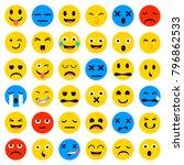 cartoon emoji collection. set... | Shutterstock .eps vector #796862533
