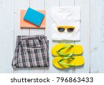 men's casual outfits of... | Shutterstock . vector #796863433