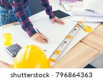 architect and engineer team... | Shutterstock . vector #796864363