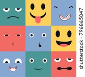 9 icons set faces and... | Shutterstock .eps vector #796865047