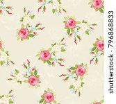 seamless floral pattern with... | Shutterstock .eps vector #796868833