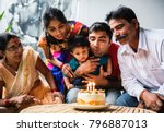 indian family celebrating a... | Shutterstock . vector #796887013