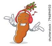 listening music tamarind mascot ... | Shutterstock .eps vector #796894933