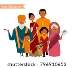 big happy indian family in... | Shutterstock .eps vector #796910653