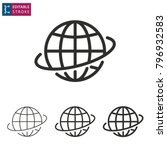 globe   outline icon on white... | Shutterstock .eps vector #796932583