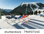 color sun loungers on the slope ... | Shutterstock . vector #796937143