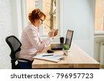 red hair mature business woman...   Shutterstock . vector #796957723