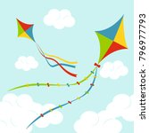 fly color kites surfing in sky... | Shutterstock .eps vector #796977793