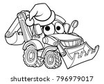 bulldozer digger construction... | Shutterstock .eps vector #796979017