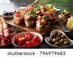 italian antipasti wine snacks... | Shutterstock . vector #796979683