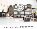 round clock and radio on the...   Shutterstock . vector #796982323