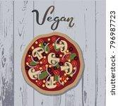 hand drawn lettering   vegan... | Shutterstock .eps vector #796987723
