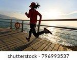 sporty fitness female runner... | Shutterstock . vector #796993537