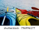 kayaking on the lake concept... | Shutterstock . vector #796996177