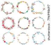 set of vector frames from wreath | Shutterstock .eps vector #796998697