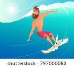 happy surfer ride on blue ocean ...   Shutterstock .eps vector #797000083