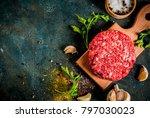 raw burger cutlets with salt ...   Shutterstock . vector #797030023