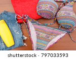set of beachwear on wooden... | Shutterstock . vector #797033593