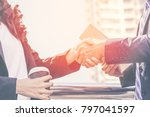 business partnership meeting... | Shutterstock . vector #797041597
