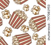 pop corn boxes and corn... | Shutterstock .eps vector #797081953