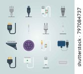 icon set about connectors... | Shutterstock .eps vector #797084737