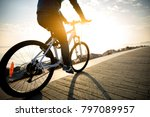 cyclist riding bike in the... | Shutterstock . vector #797089957