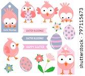 cute pink easter chicks... | Shutterstock .eps vector #797115673