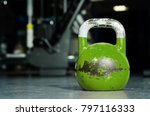 single green kettlebell on the... | Shutterstock . vector #797116333