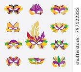 vector icons of carnival masks. ... | Shutterstock .eps vector #797122333