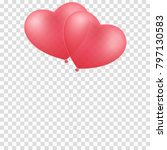 pink balloons heart isolated on ... | Shutterstock .eps vector #797130583