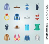 icon set about clothes and... | Shutterstock .eps vector #797143423