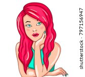 beautiful girl leaning on a...   Shutterstock .eps vector #797156947