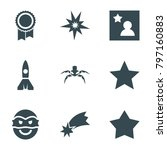 star icons. set of 9 editable...