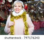 cheerful adult woman on shiny... | Shutterstock . vector #797176243